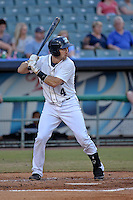 New Orleans Zephyrs catcher Vinny Rottino (4) at bat against the Albuquerque Isotopes in a game at Zephyr Field on May 28, 2015 in Metairie, Louisiana. (Derick E. Hingle/Four Seam Images)