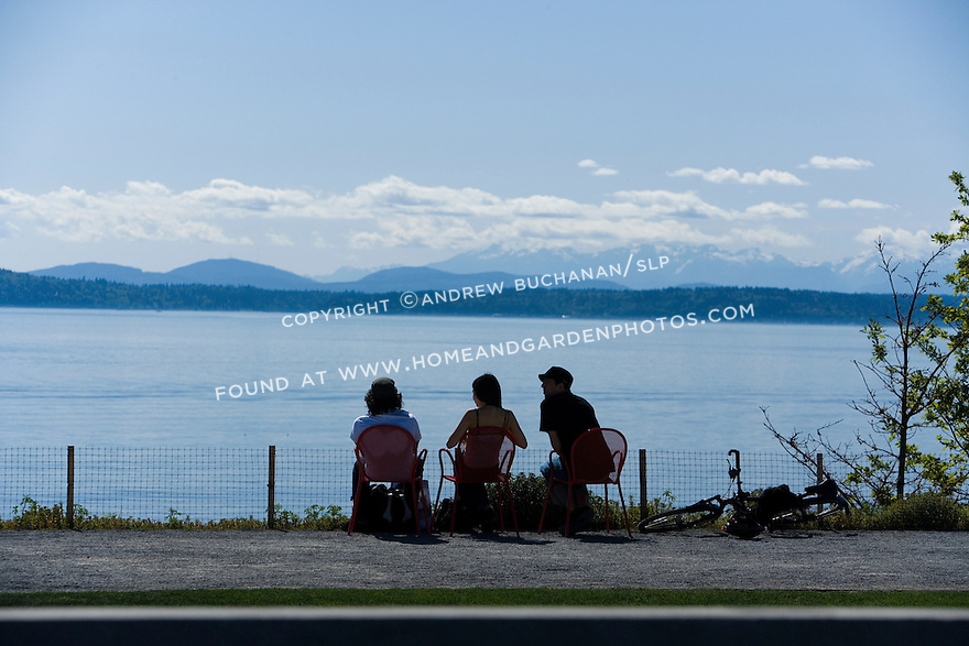 The bluff at the edge of the North Meadow provides opportunity to feel alone with Puget Sound, the sky, and the Olympic Mountains to the west.   SAM's Olympic Sculpture Park, Seattle, WA.