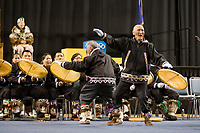 Utuqqagmiut Inupiaq (Eskimo) dancers from the village of Wainwright dance at the 2008 World Eskimo Indian Olympics held annually in Fairbanks, Alaska.