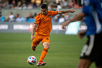 SAN JOSE, CA - JULY 24: Matias Vera #22 of the Houston Dynamo passes the ball during a game between San Jose Earthquakes and Houston Dynamo at PayPal Park on July 24, 2021 in San Jose, California.