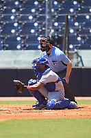 Umpire Austin Nelson and Dunedin Blue Jays catcher Anthony Morales (4) during a game against the Tampa Tarpons on May 9, 2021 at George M. Steinbrenner Field in Tampa, Florida.  (Mike Janes/Four Seam Images)