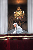 Pope Benedict XVI last time greeting Last Day as Pope, from the balcony of residence in Castel Gandolfo on the outskirts of Rome. on February 28, 2013.