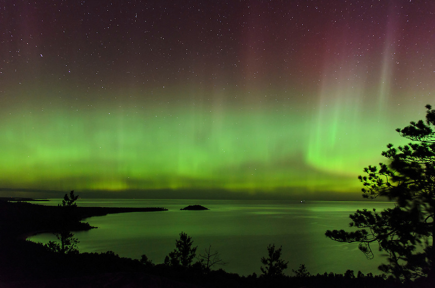 A beautiful aurora display photographed high above Lake Superior on Sugarloaf Mtn. Marquette, MI