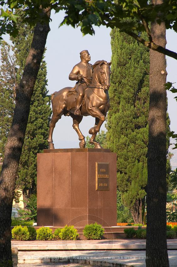 King Nikola, 1841-1921 equestrian statue, ruler of Montenegro. on the Sveti Petra Saint Peter boulevard Podgorica capital. Montenegro, Balkan, Europe.