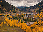 Autumn Afternoon in Silverton, Colorado ©2016 James D Peterson.  An early fall storm can't dull the colors of fall foliage in this historic mining town.