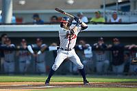 Cody Milligan (7) of the Danville Braves at bat against the Burlington Royals at Burlington Athletic Stadium on July 13, 2019 in Burlington, North Carolina. The Royals defeated the Braves 5-2. (Brian Westerholt/Four Seam Images)