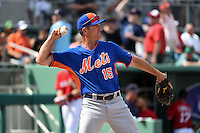 New York Mets bench coach Bob Geren (15) during a Spring Training game against the Boston Red Sox on March 16, 2015 at JetBlue Park at Fenway South in Fort Myers, Florida.  Boston defeated New York 4-3.  (Mike Janes/Four Seam Images)