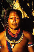 Xingu, Brazil. Young Xicrin Kayapo Indian man from village of Catete.