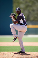 GCL Yankees East relief pitcher Deshorn Lake (38) during a game against the GCL Pirates on August 15, 2016 at the Pirate City in Bradenton, Florida.  GCL Pirates defeated GCL Yankees East 5-2.  (Mike Janes/Four Seam Images)