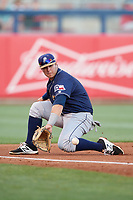 San Antonio Missions third baseman Ty France (8) fields a ground ball during a game against the Tulsa Drillers on June 1, 2017 at ONEOK Field in Tulsa, Oklahoma.  Tulsa defeated San Antonio 5-4 in eleven innings.  (Mike Janes/Four Seam Images)