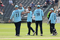 Ryan ten Doeschate of Essex celebrates with his team mates after taking the wicket of Graeme van Buuren during Gloucestershire vs Essex Eagles, Royal London One-Day Cup Cricket at the Bristol County Ground on 3rd August 2021