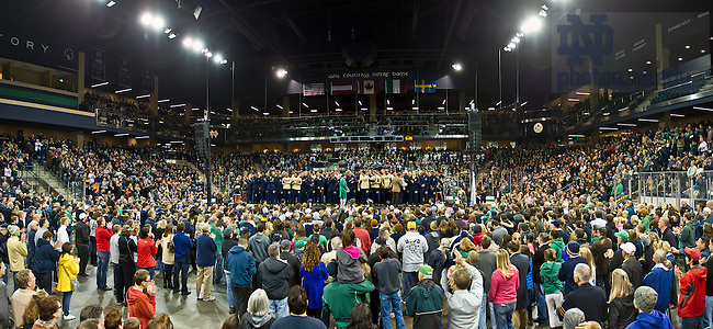 Nov. 1, 2013; The football pep rally moved into the Compton Family Ice Arena for the first time due to rainy weather outside.<br /> <br /> Photo by Matt Cashore/University of Notre Dame