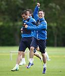 Ian Black celebrates at training