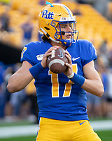 Pitt quarterback Davis Beville. The Virginia Cavaliers defeated the Pitt Panthers 30-14 in a football game at Heinz Field, Pittsburgh, Pennsylvania on August 31, 2019.