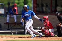 Toronto Blue Jays Rainer Nunez (68) bats during an Extended Spring Training game against the Philadelphia Phillies on June 12, 2021 at the Carpenter Complex in Clearwater, Florida. (Mike Janes/Four Seam Images)