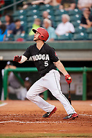 Chattanooga Lookouts left fielder Chris Paul (5) follows through on a swing during a game against the Jackson Generals on May 9, 2018 at AT&T Field in Chattanooga, Tennessee.  Chattanooga defeated Jackson 4-2.  (Mike Janes/Four Seam Images)