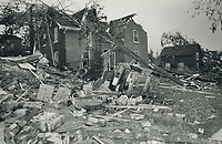 1985 FILE PHOTO - ARCHIVES -<br /> <br /> This demolished brick house shows the impact the storm had in Grand Valley<br /> <br /> 1985<br /> <br /> PHOTO :  Erin Comb - Toronto Star Archives - AQP