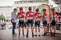 Team Lotto-Soudal presentation on the start podium in Turnhout with (later winner) Jasper de Buyst (BEL/Lotto-Soudal) interviewed<br /> <br /> 10th Heistse Pijl 2017