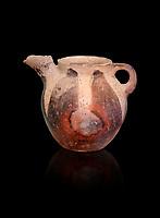 Vasiliki Ware jug with characteristic mottled decorations,  Vasiliki 2300-1900 BC BC, Heraklion Archaeological  Museum, black background.