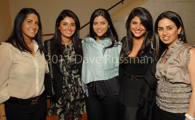 From left: Narguess Arjomand, Saba Jawda, Sepideh Sadeghpour, Sarah Jawda and Fara Ebrahimy at the Friends of the Arts of the Islamic World evening at the Museum of Fine Arts Houston Thursday April 09,2009.(Dave Rossman/For the Chronicle)