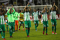 SANTIAGO DE CHILE - CHILE - 27 - 02 - 2018: Los jugadores de Atletico Nacional (COL), celebran la victoria sobre Colo Colo (CHL) durante partido de la Fase de Grupos, grupo 2, fecha 1 entre Colo Colo (CHL) y Atletico Nacional (COL), por la Copa Conmebol Libertadores 2018 en el estadio Monumental David Arellano, de la ciudad de Santiago de Chile. / The players of Atletico Nacional of Colombia, celebrate the victory after beat Colo Colo (CHL) during match of the Group Stage, group 2, 1st date between Colo Colo (CHL) and Atletico Nacional (COL) for Copa Conmebol Libertadores 2018 at the David Arellano Monumental Stadium, in the city of Santiago de Chile. Photos: VizzorImage / Marcelo Hernandez / Cont. / Photosport