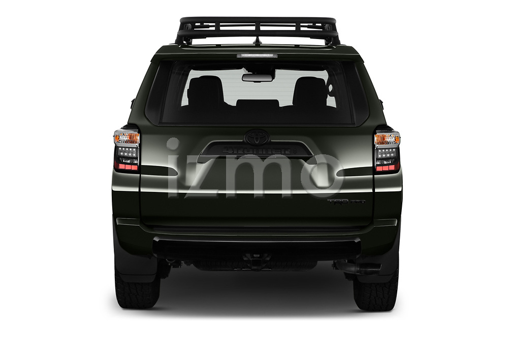 Straight rear view of 2020 Toyota 4Runner TRD-Pro 5 Door SUV Rear View  stock images