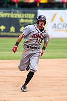 Quad Cities River Bandits outfielder Jonathan Lacroix (13) races to third base during a Midwest League game against the Kane County Cougars on July 1, 2018 at Northwestern Medicine Field in Geneva, Illinois. Quad Cities defeated Kane County 3-2. (Brad Krause/Four Seam Images)