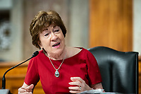 """United States Senator Susan Collins (Republican of Maine), speaks during a US Senate Health, Education, Labor and Pensions Committee hearing in Washington, D.C., U.S., on Tuesday, June 30, 2020. The U.S. government's top infectious disease specialist said he's """"quite concerned"""" about the spike in coronavirus cases in Florida, Texas, Arizona and California. Photographer: Al Drago/Bloomberg<br /> Credit: Al Drago/CNP/AdMedia"""