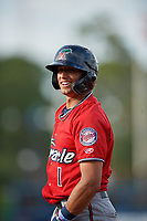 Fort Myers Miracle Royce Lewis (1) during a Florida State League game against the Charlotte Stone Crabs on April 6, 2019 at Charlotte Sports Park in Port Charlotte, Florida.  Fort Myers defeated Charlotte 7-4.  (Mike Janes/Four Seam Images)