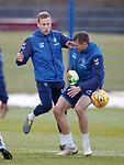 02.04.2019 Rangers training: Scott Arfield and Gareth McAuley