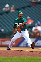 Miami Hurricanes relief pitcher Gregory Veliz (0) in action against the Wake Forest Demon Deacons in Game Nine of the 2017 ACC Baseball Championship at Louisville Slugger Field on May 26, 2017 in Louisville, Kentucky. The Hurricanes defeated the Demon Deacons 5-2. (Brian Westerholt/Four Seam Images)