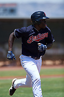 AZL Indians Blue Jhonkensy Noel (44) runs to first base during an Arizona League game against the AZL Indians Red on July 7, 2019 at the Cleveland Indians Spring Training Complex in Goodyear, Arizona. The AZL Indians Blue defeated the AZL Indians Red 5-4. (Zachary Lucy/Four Seam Images)