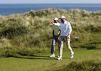 150719 | The 148th Open - Monday Practice<br /> <br /> Dustin Johnson of USA and Tiger Woods of USA during  during practice for the 148th Open Championship at Royal Portrush Golf Club, County Antrim, Northern Ireland. Photo by John Dickson - DICKSONDIGITAL