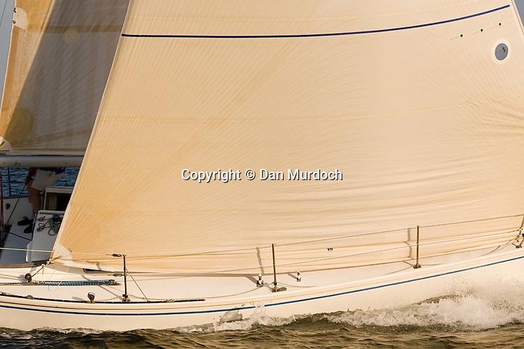 Large genoa jib on sailboat