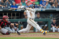Michigan Wolverines outfielder Jesse Franklin (7) follows through on his swing during Game 1 of the NCAA College World Series against the Texas Tech Red Raiders on June 15, 2019 at TD Ameritrade Park in Omaha, Nebraska. Michigan defeated Texas Tech 5-3. (Andrew Woolley/Four Seam Images)