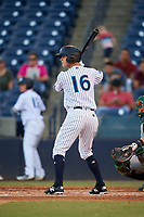 Tampa Tarpons right fielder Pablo Olivares (16) at bat during a game against the Daytona Tortugas on April 18, 2018 at George M. Steinbrenner Field in Tampa, Florida.  Tampa defeated Daytona 12-0.  (Mike Janes/Four Seam Images)