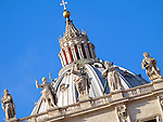 The dome of St. Peter's Basilica in Vatican City in Rome, Italy.