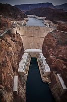 Hoover Dam and Lake Mead at the border of Nevada and Arizona in the USA