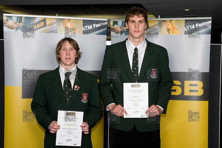 Boys Basketball finalists Zac Fitzgerald-Macky & Robert Loe. ASB College Sport Young Sportperson of the Year Awards 2008 held at Eden Park, Auckland, on Thursday November 13th, 2008.