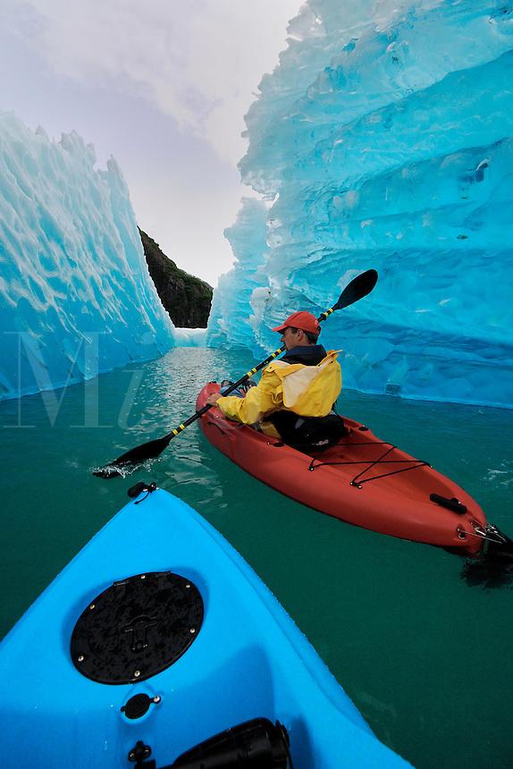 Sea kayaking near iceberg in Tracy Arm, Alaska, Pacific Ocean
