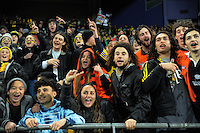 Fans dance for the Hurrioke during the Super Rugby semifinal match between the Hurricanes and Chiefs at Westpac Stadium, Wellington, New Zealand on Saturday, 30 July 2016. Photo: Dave Lintott / lintottphoto.co.nz