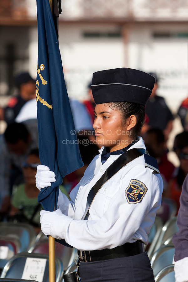 Young Woman Participating in the Celebration of the 70th Anniversary of the Founding of the Mexican Navy, Playa del Carmen, June 1, 2012.  Yucatan, Mexico.