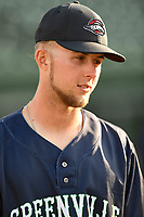 Outfielder Cole Brannen (5) of the Greenville Drive, No. 6 Red Sox prospect and 2nd Round draft pick, watches a preseason workout on Tuesday, April 3, 2018, at Fluor Field at the West End in Greenville, South Carolina. (Tom Priddy/Four Seam Images)