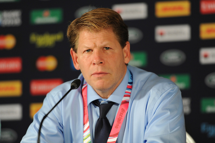 Mike Tolkin, USA Head Coach, speaks to the media after during Match 18 of the Rugby World Cup 2015 between Scotland and USA - 27/09/2015 - Elland Road, Leeds<br /> Mandatory Credit: Rob Munro/Stewart Communications