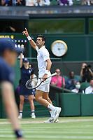 11th July 2021, Wimbledon SW London England, AELTC Wimbledon Tennis Championships, mens final, Novak Djokovic (Ser)  versus Matteo Berrettini (Ita); Novak Djokovic (Ser)