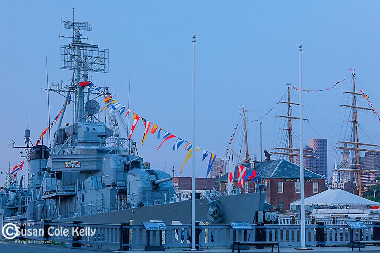 Naval vessels at the Charlestown Navy Yard, Boston, Massachusetts, USA