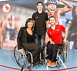 The Canadian Paralympic Committee cross country tour stops to meet students at St. Vincent de Paul school in Calgary, Alberta on Janyary 19, 2016.  Chantal Petitclerc, Stefan Daniel and Chad Jassman.