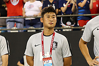 CHARLOTTE, NC - OCTOBER 3: Assistant coach Sungjun Park of Korea Republic during a game between Korea Republic and USWNT at Bank of America Stadium on October 3, 2019 in Charlotte, North Carolina.