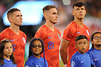 EAST RUTHERFORD, NJ - SEPTEMBER 7: Wil Trapp #6 of the United States, Tyler Boyd #21 of the United States, Alfredo Morales #15 of the United States during the presentation of the team during a game between Mexico and USMNT at MetLife Stadium on September 6, 2019 in East Rutherford, New Jersey.