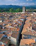 Lucca, Tuscany, Italy<br /> Tiled roofs of Lucca's city center with Apuan alps in the distance